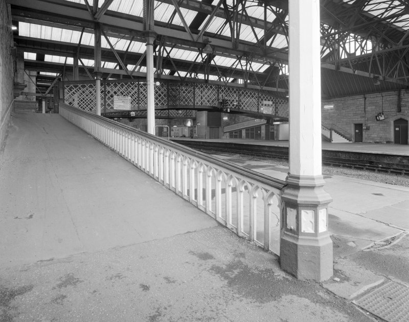 Perth, Leonard Street, General Station Platform 4: view from south of one of several ramps leading up to footbridge, also showing typical gothic-style cast-iron balustrade