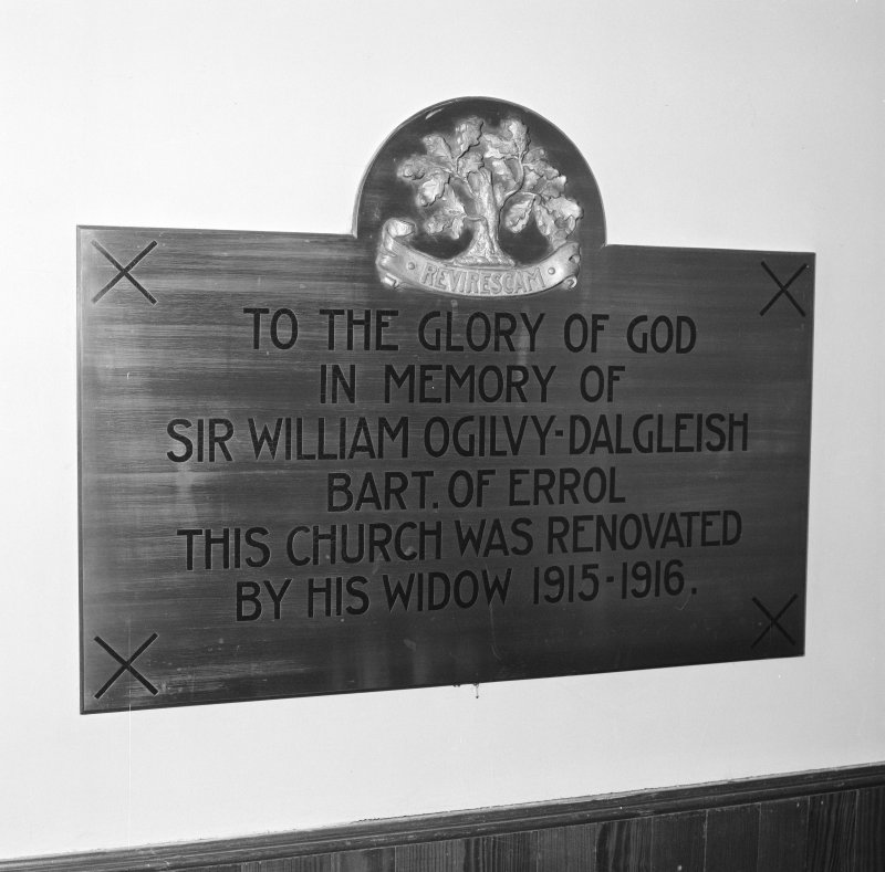 Detail of memorial plaque to Sir William Ogilvy-Dalgleish
