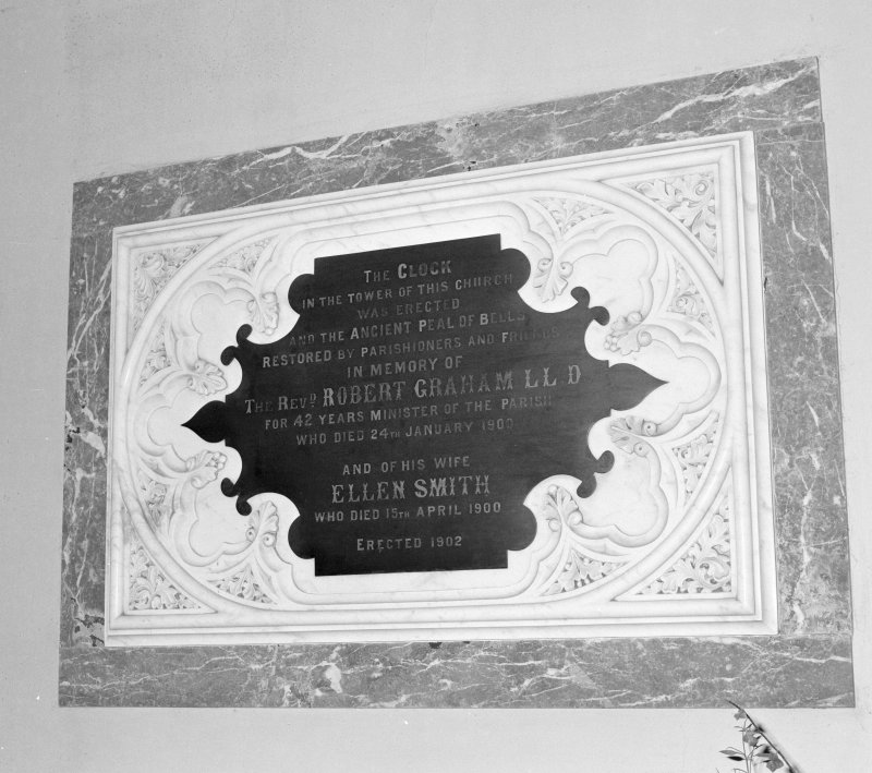Detail of memorial plaque to Rev and Mrs Graham, The clock was installed and the bells restored also in their memory dated 1902
