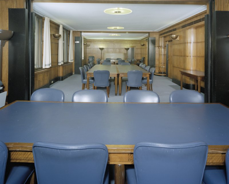 Interior. View of third floor conference rooms C, D, E from West with dividing doors open