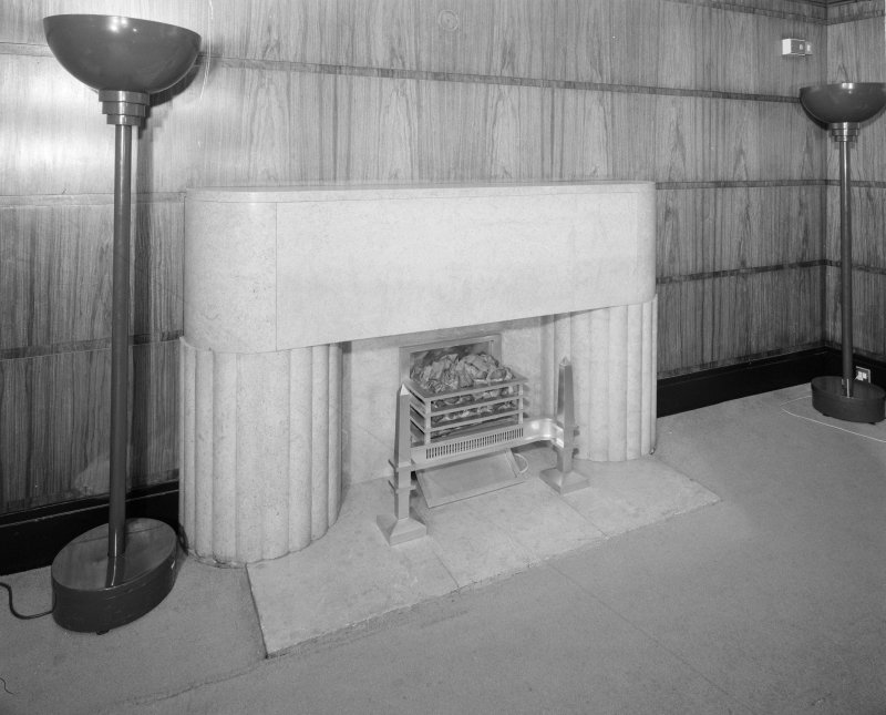 Interior. Third floor Conference room A detail of fireplace