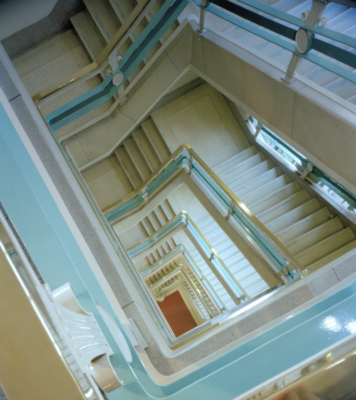 Interior view of stairwell from above, St Andrew's House, Edinburgh.