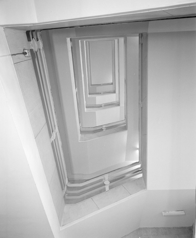 Interior. View of stairwell from below