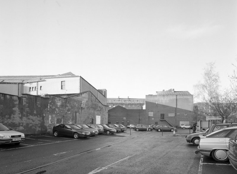 Perth, 1 Mill Street, Pullar's Dyeworks General view from east of demolished area forming north part of factory, a car park in 1998.