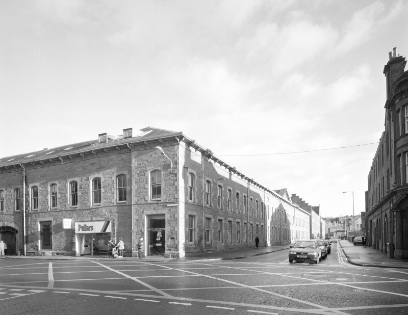 Perth, 1 Mill Street, Pullar's Dyeworks General view from south west of corner of Mill Street (right) and Kinnoull Street (left)