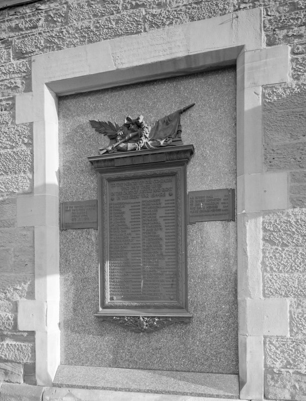Perth, 1 Mill Street, Pullar's Dyeworks Detail of war memorial plaque in Kinnoull Street facade of the works