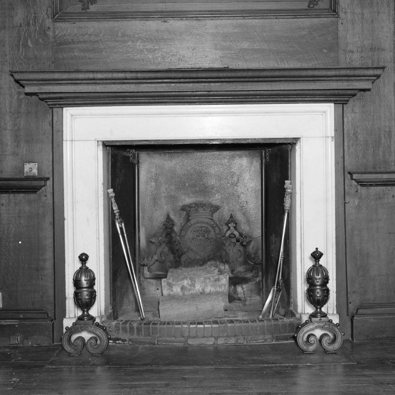 Interior, principal floor, dining-room, view of fireplace.