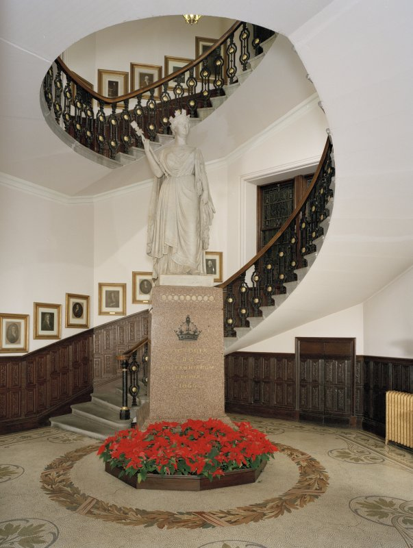 Interior view of town-house, ground floor, main stair hall and view of stair with statue of Queen Victoria at Aberdeen Municipal Buildings and Tolbooth.
