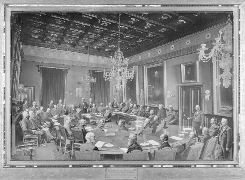 Interior. Town-house, copy of photograph of 1897 Council meeting.