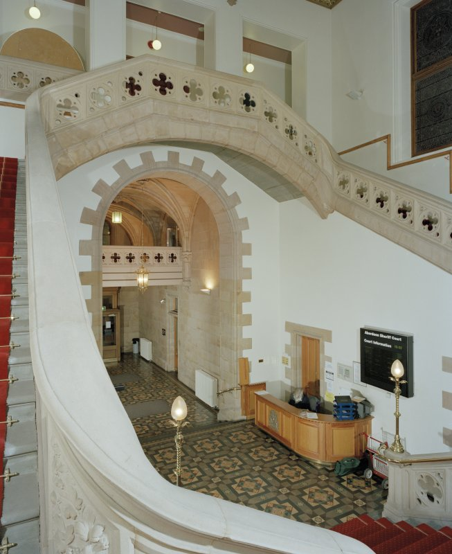 Interior. Sheriff Court, ground floor, entrance hall, view from staircase landing to North East.