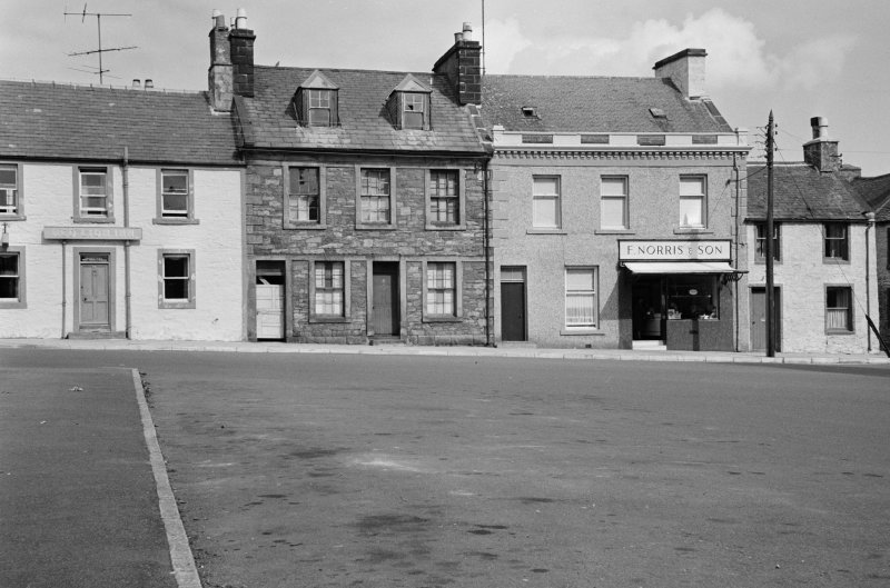 View of 1-4 North Main Street, Wigtown, from south, showing the Red Lion Inn and F Norris and Son