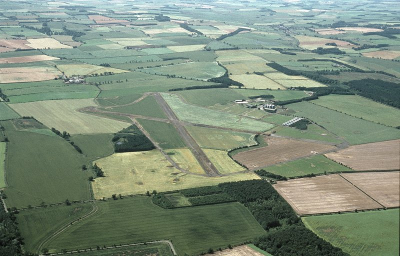 Oblique aerial view centred on Charterhall Airfield, taken from the E.