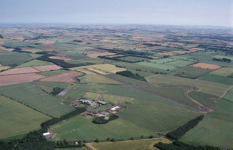 Oblique aerial view centred on Charterhall Airfield, taken from the W.