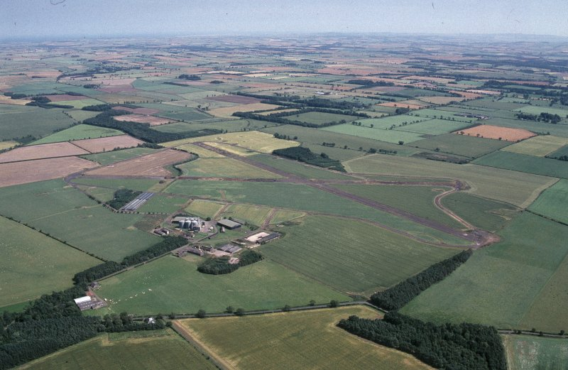 Oblique aerial view centred on Charterhall Airfield, taken from the WNW.