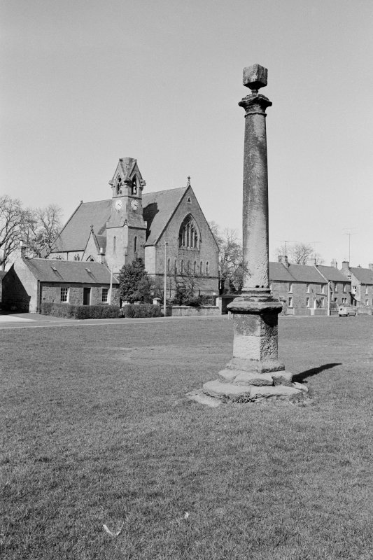 View of the market cross at the Green, Swinton and the Village Hall, former United Free Church