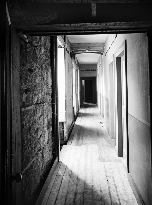 Interior view of corridor from door of tower room, Abergeldie Castle