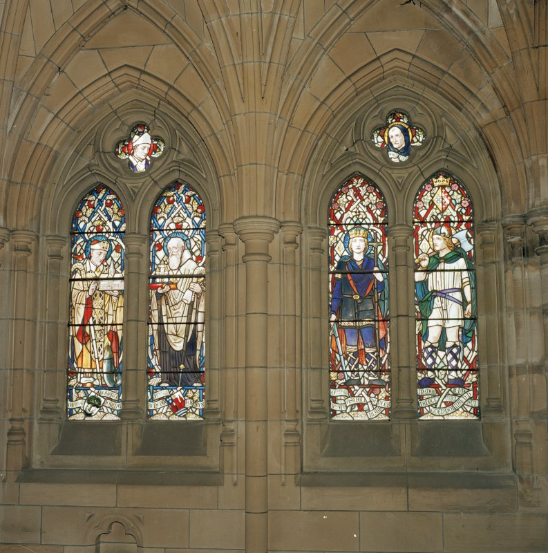 Detail of 19th century South West aisle stained glass windows