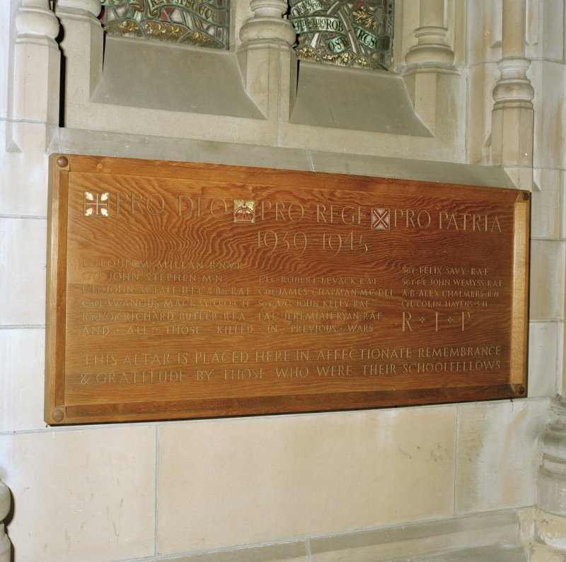 Detail of 19th century South West aisle war memorial