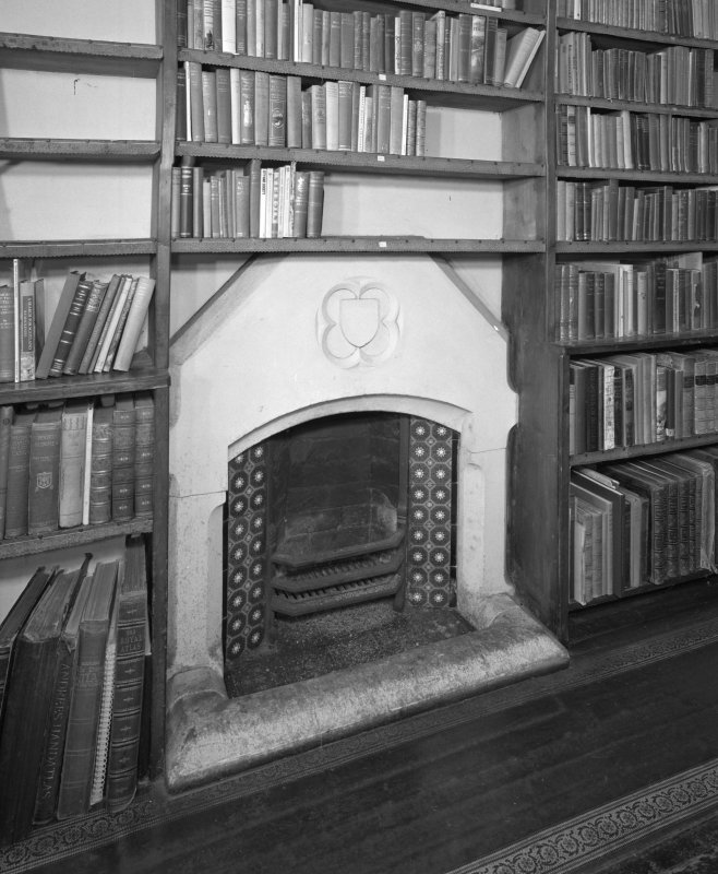Detail of library fireplace