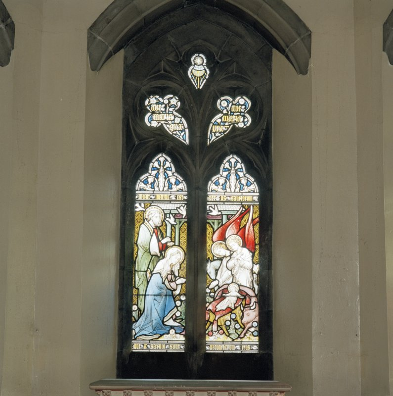 Detail of a stained glas window in Abbot's Chapel