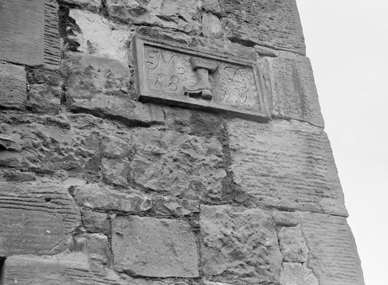 Carved panel inscribed 'MB 1819' with boot on house opposite Lomond Tavern, Horse Market, Falkland