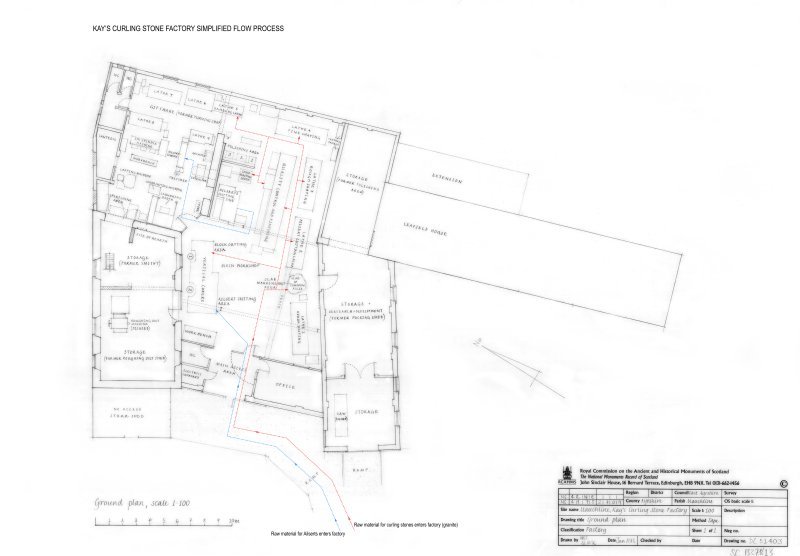 Mauchline, Kay's Curling Stone Factory:  Annotated survey drawing of Ground plan showing simplified flow process