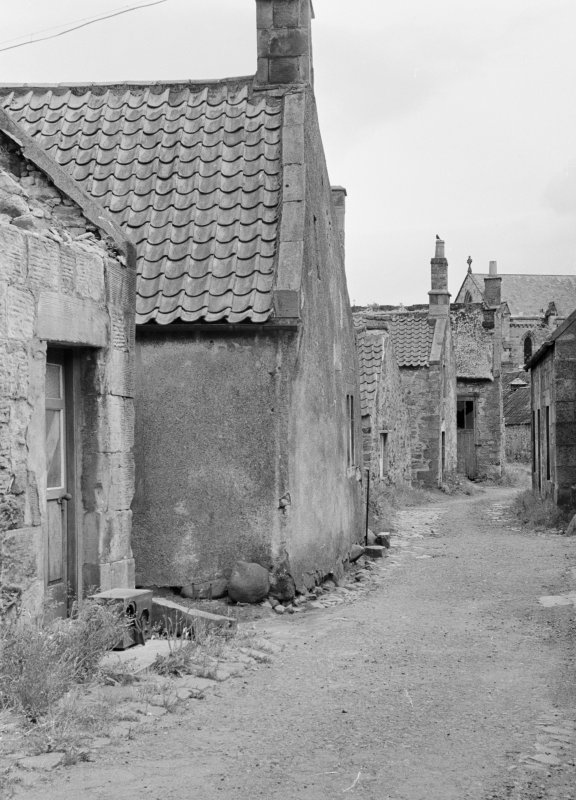 View of cottages and stret in Balmblae, Falkland