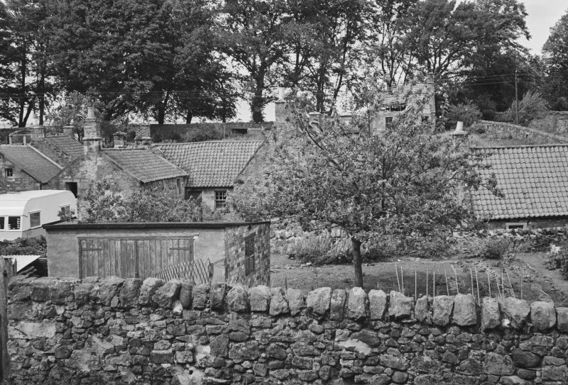 View of cottages and gardens in Balmblae, Falkland