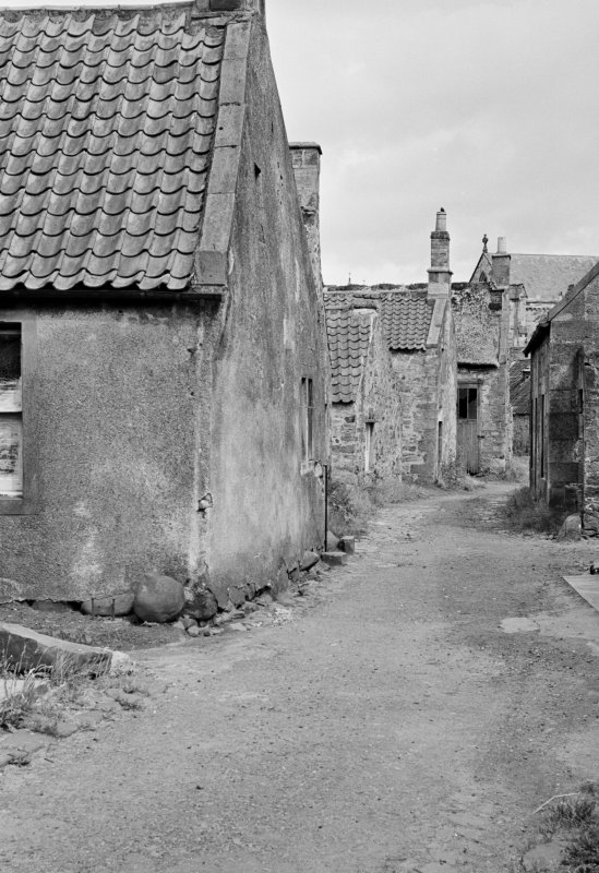 View of cottages and street in Balmblae, Falkland, from west