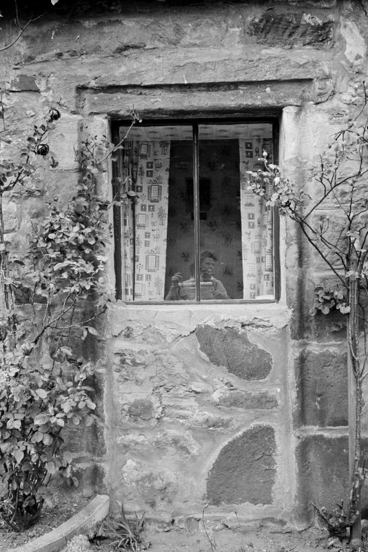 Detail of window in cottage in Balmblae, Falkland