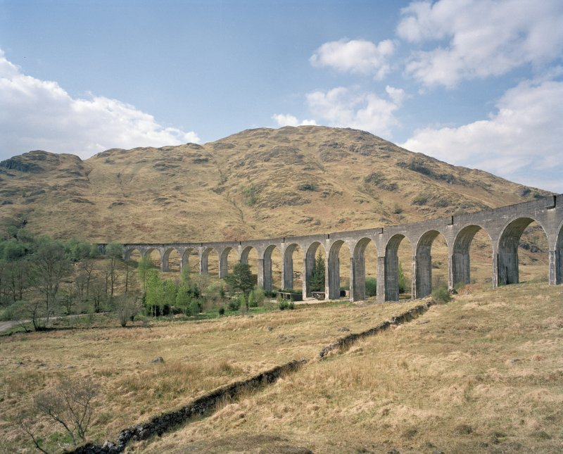 Glenfinnan Railway Viaduct over River Finnan General view from SE of S side of viaduct