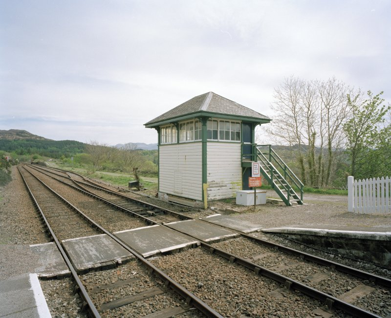 View from NW of signal box at E end of station