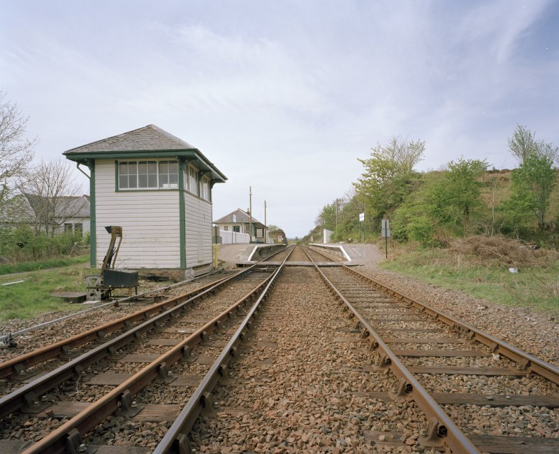 General view of station from E, with signal box (foreground left)