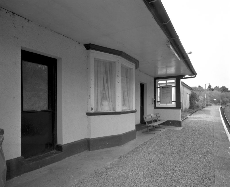 Morar Station and Post Office Detailed view from SE of facade of station building, facing onto platform