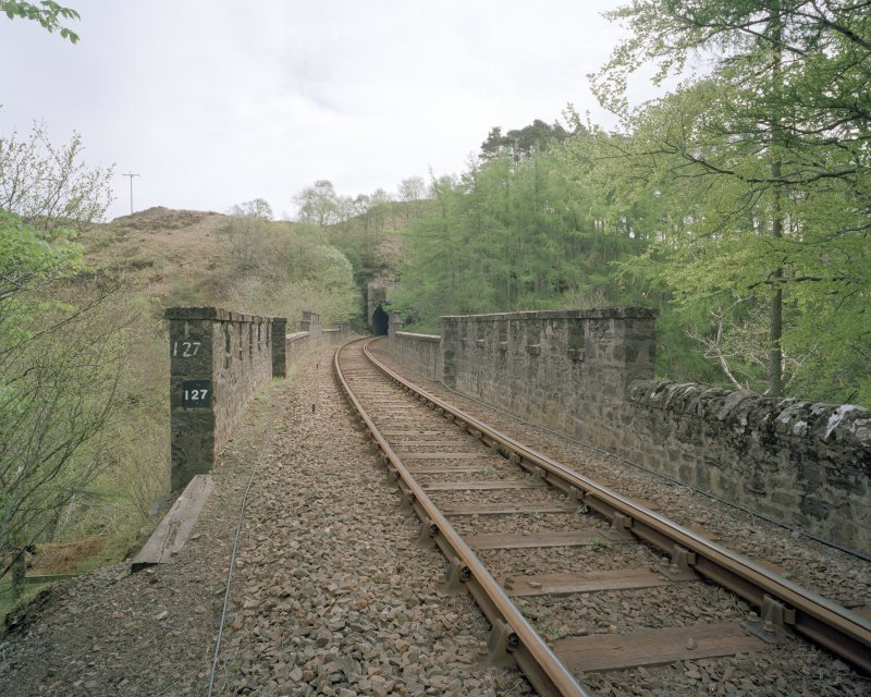 Borrodale Viaduct View from west at track level, showing the crenelated parapets, and the mouth of the Borrodale Tunnel