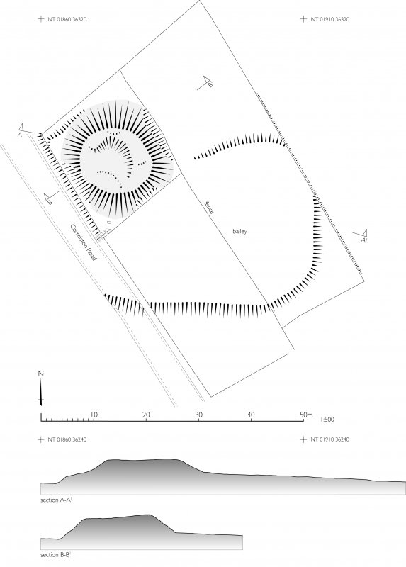 RCAHMS Illustration. 1:500 plan and sections of Coulter Motte Hill, Wolfclyde. 400 dpi copy of Illustrator file GV006021.
