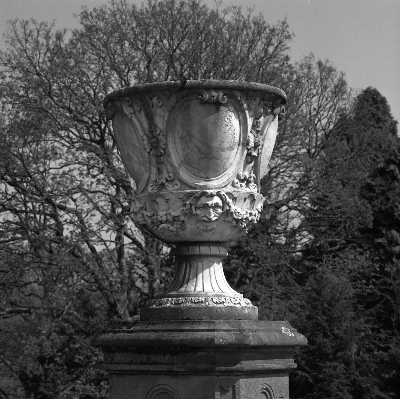 Detail of urn on terrace to East of castle.