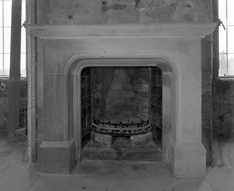 Ground floor, South room, detail of fireplace.
