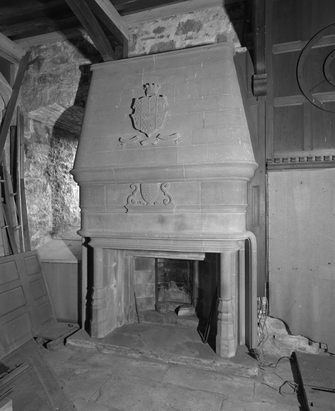 1st. floor hall, detail of fireplace.