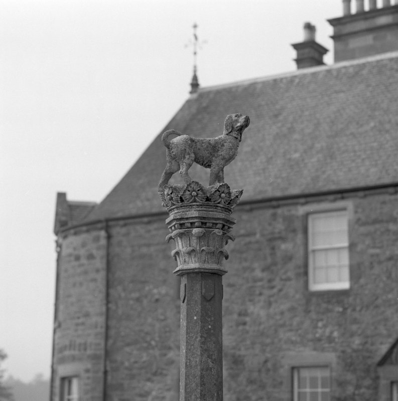 Detail of statue of dog and crown on top of fountain.