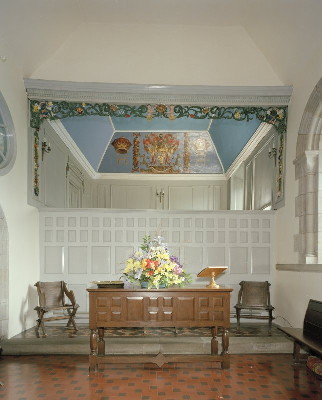 Interior. Altar table with Hopetoun loft above, view from West.