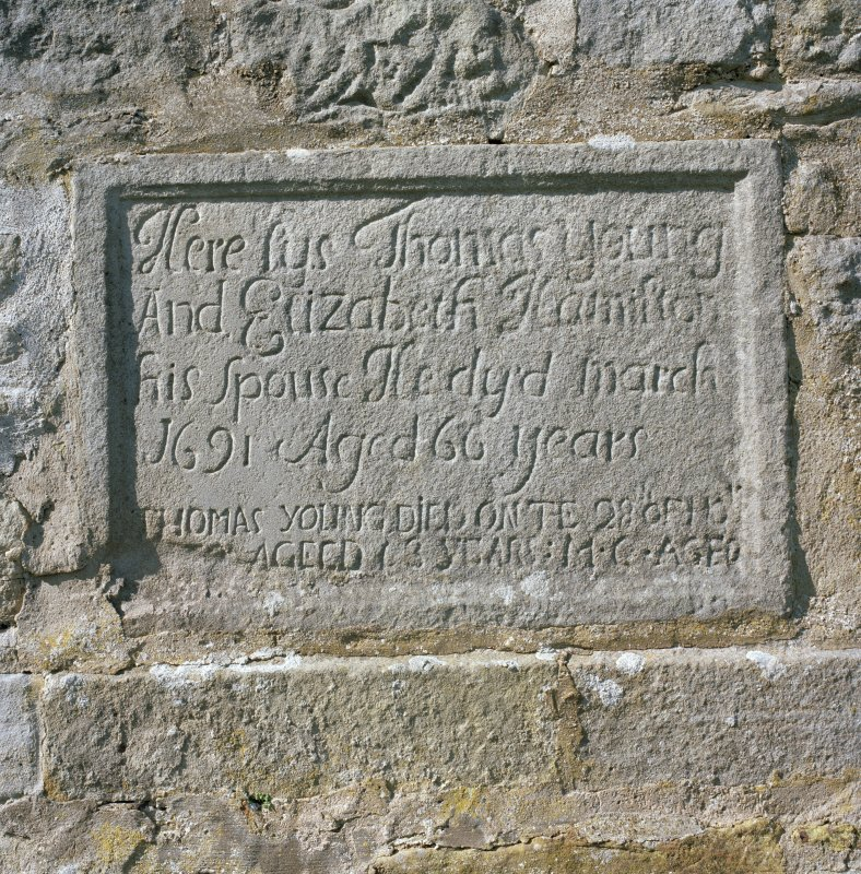 Detail of panel commemorating Thomas Young and Elizabeth Hamilton set into wall of SW burial aisle (Philpstoun Aisle).