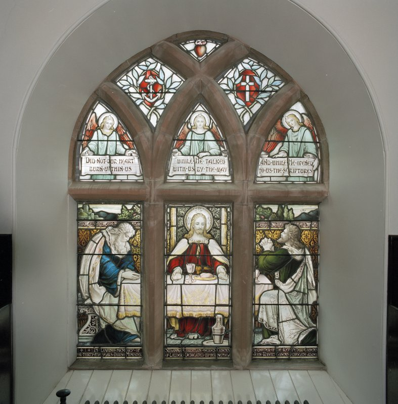 Interior. View of stained glass window in north wall