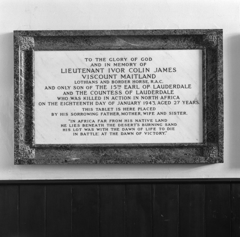 Interior. Memorial to Viscount Maitland