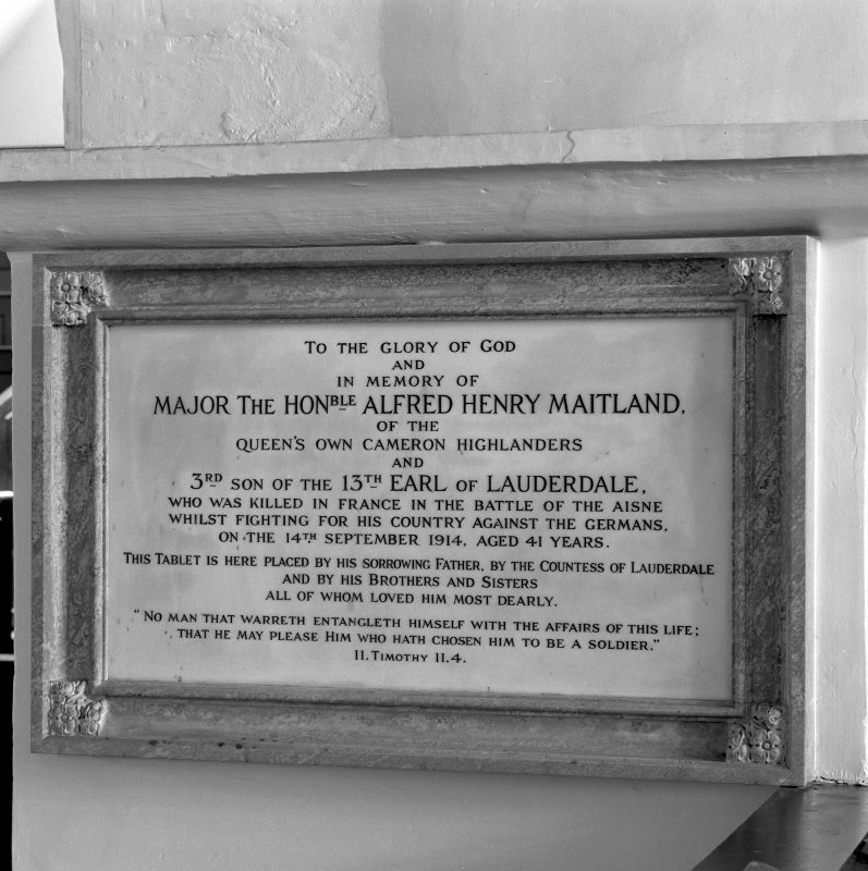 Interior. Memorial to Major Alfred Henry Maitland