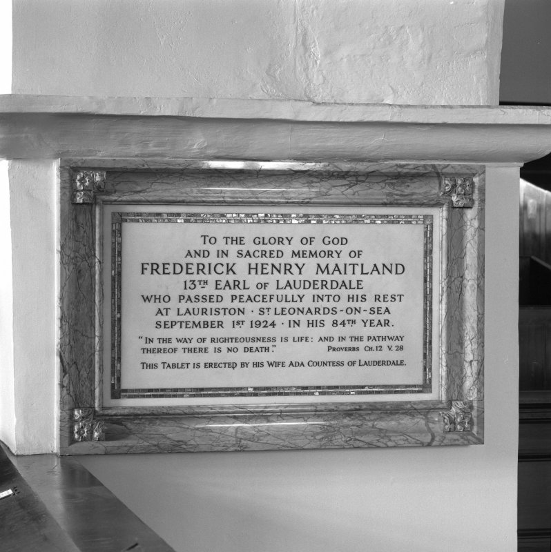 Interior. Memorial to Frederick Henry Maitland, 13th Earl of Lauderdale