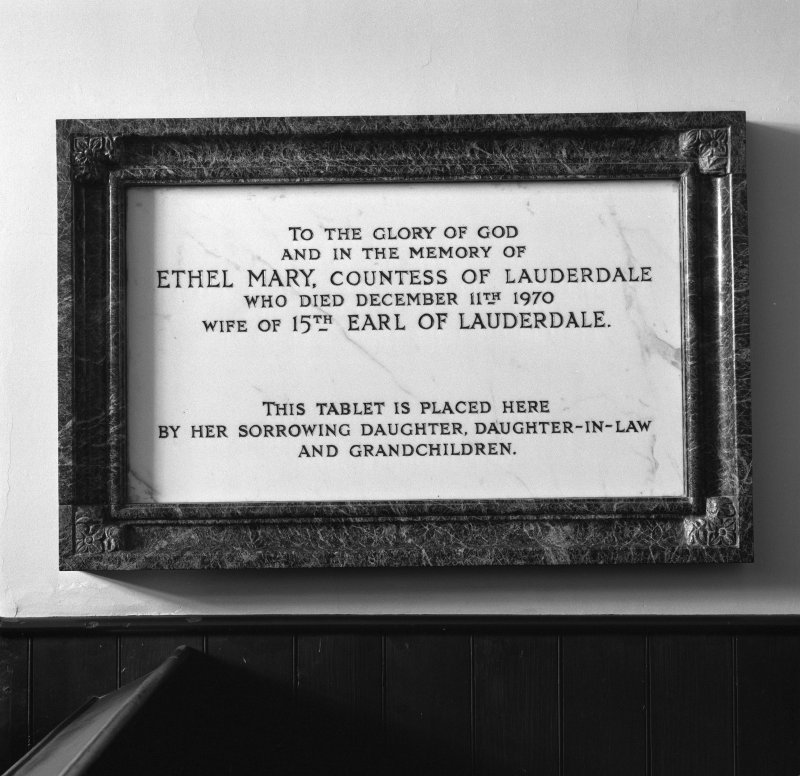 Interior. Memorial to Ethel Mary, Countess of Lauderdale