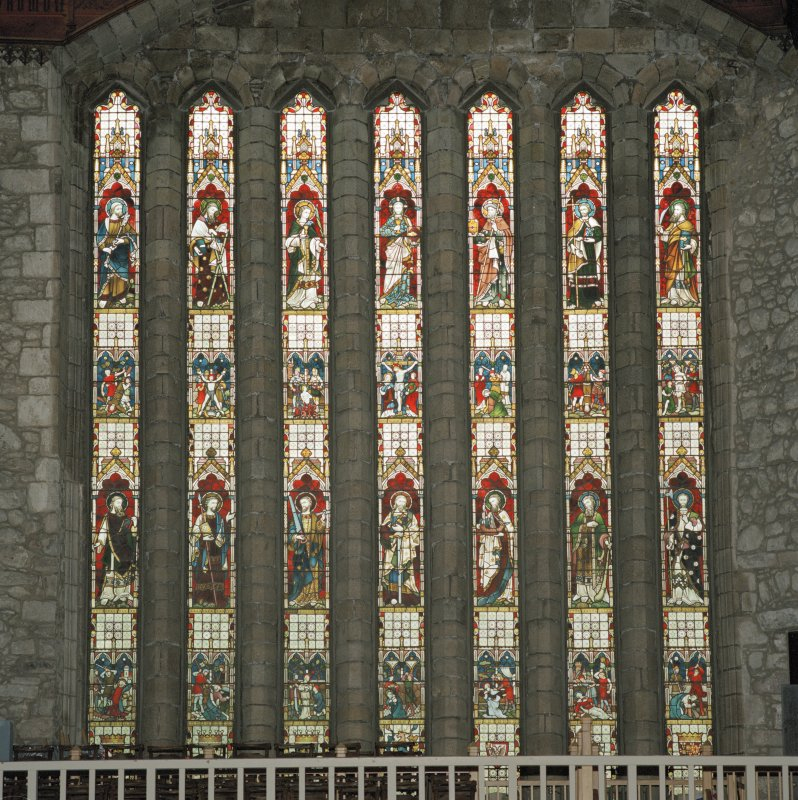 Aberdeen, Chanonry, St Machar's Cathedral, Interior. General view of stained glass in west wall from east.