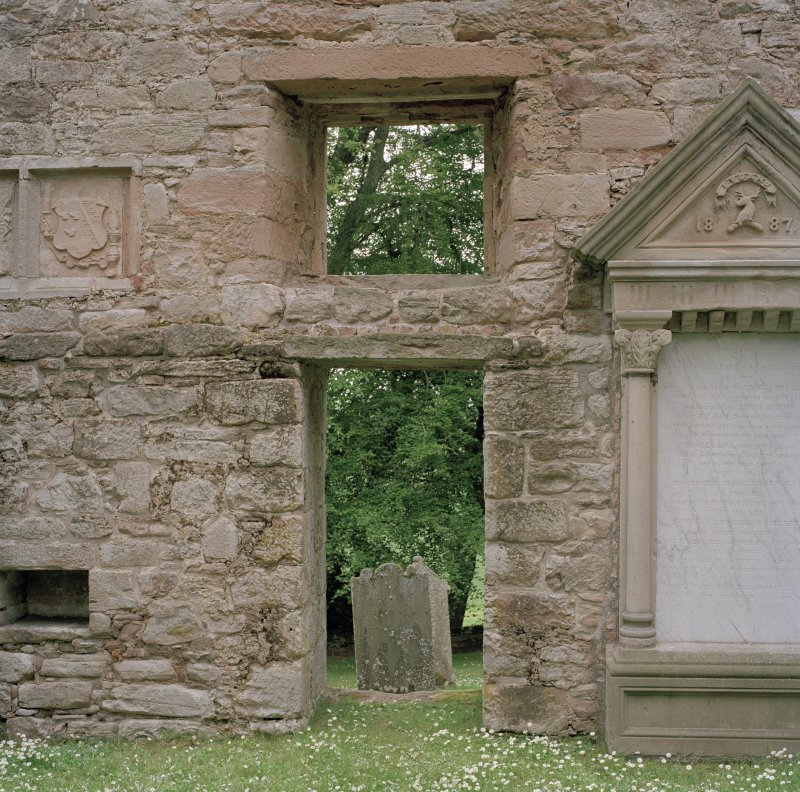 Doorway and window in East gable, view from inside church.