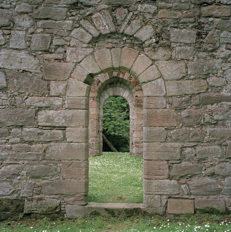 Doorway in North wall, view from exterior.